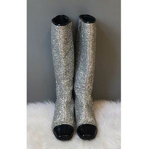 Freya Cap Toe Knee High Glitter Boots Silver/Black